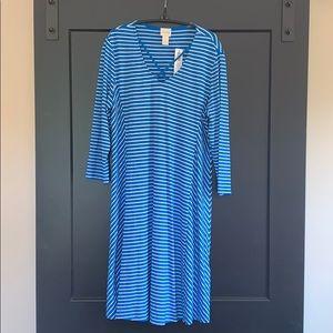 NWT Blue & White Stripe Dress Chico's Size 1